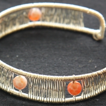 wirework: silver cuff with glass beads, 2008